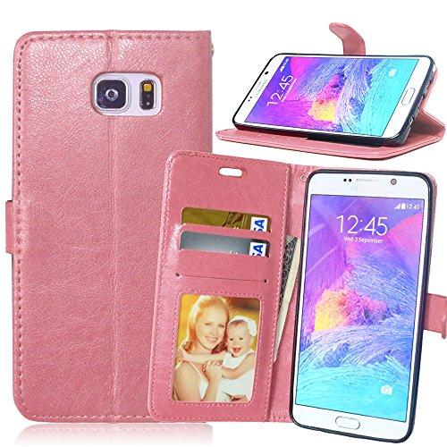 Galaxy Note 5 Étui housse, Meet de pour Samsung Galaxy Note 5 Housse étui coque Case Cover smart flip cuir Case à rabat Coque de Protection en Cuir Flip Livre en Cuir Avec des Cartes de Crédit Slot et Fonction Support Rose