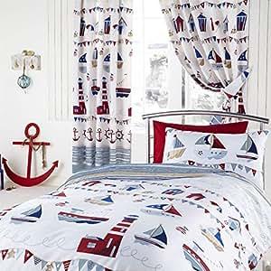 Rideaux en lin Motif mer et bateaux Bleu 168 X 183cm