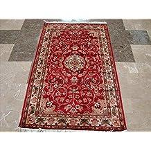 ahmedani awesome royal rouge beaut floral oriental tapis nous la main en laine soie tapis - Tapis Oriental Rouge