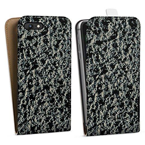 Apple iPhone X Silikon Hülle Case Schutzhülle Lavastein Struktur Stein Muster Downflip Tasche weiß