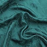 Petrol Blau Paisley Jacquard Polyester Viskose Kleid Futter