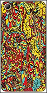 Snoogg Vector Seamless Texture With Abstract Flowers Endless Background Ethnic Sea Designer Protective Back Case Cover For HTC Desire 826
