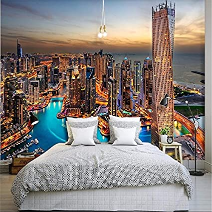 Lqwx Sfondo Personalizzato Per Soggiorno Dubai Notte Luce Brillante ...