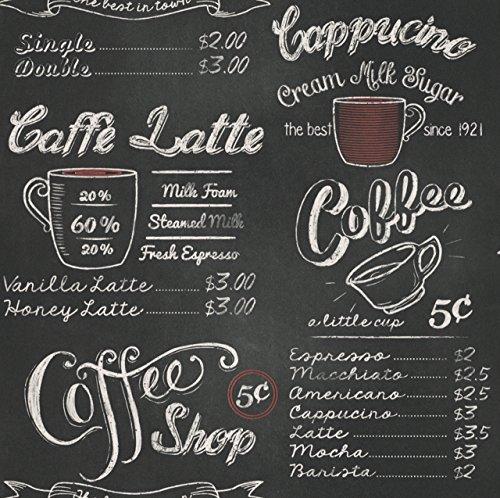 *Portfolia – Rasch Vintage Retro Coffe Shop Cafe Schwarz Weiße Kreide Tapete 234602*