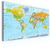murando français 90x60cm Carte du monde pour mettre des punaises & Tableau sur toile Panneau de fibres de bois tableau d'affichage pour mettre des notes Continent Geographie k-A-0302-v-a