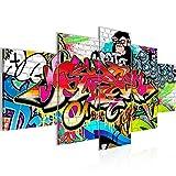 Bilder Graffiti Street Art Wandbild 200 x 100 cm Vlies - Leinwand Bild XXL Format Wandbilder Wohnzimmer Wohnung Deko Kunstdrucke Bunt 5 Teilig - Made IN Germany - Fertig zum Aufhängen 401751a