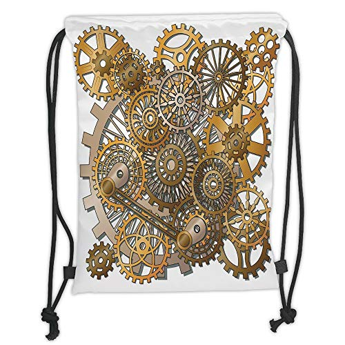 string Backpacks Bags,Clock Decor,The Gears in the Style of Steampunk Mechanical Design Engineering Theme,Gold and Brown Soft Satin,5 Liter Capacity,Adjustable String Closure,T ()