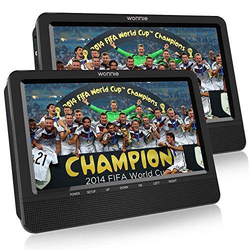 WONNIE Tragbarer Fernseher Auto DVD Player, mit Zwei 10.5 Zoll 1024*600 Auflösung TFT-LED Bildschirm,mit Halterung von Kopfstütze,mit Spielfunktion,unterstützt USB/SD,Geeignet für Reise von Familien