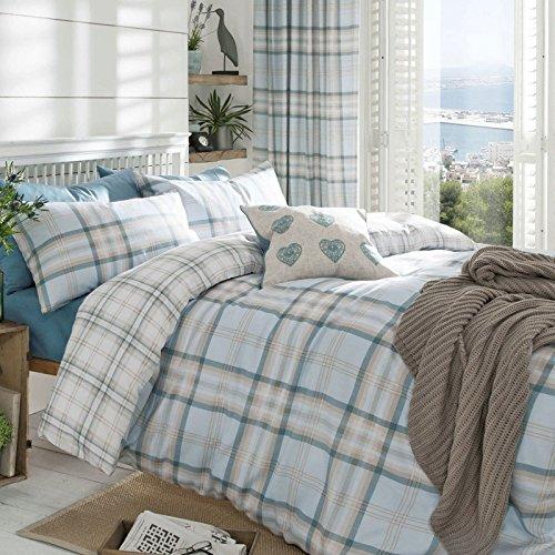 24af68416d Just Contempo - Completo copripiumone reversibile per letto matrimoniale,  moderna fantasia scozzese a quadri, colori: grigio/blu, panna, in misto  cotone, ...