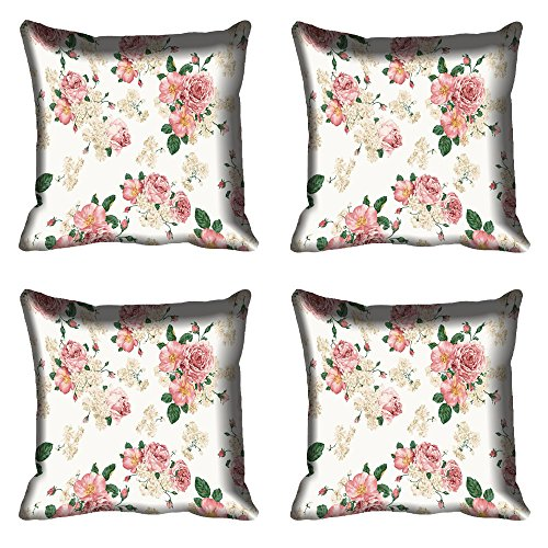 meSleep Pink Flowers Digital Printed Cushion Cover 16x16