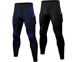 YUSHOW 2 Pack Mens Compression Leggings Cool Dry Sports Running Tights Base Layer Bottom Cycling Pants for Workout Athletic T