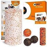blackroll-orange ORANGE-BOX MED - Faszienrolle MED, Massageball, Duoball Twinball-Orange und MINI Massagerolle als Selbstmassage Set in der ORANGE-BOX. Qualität Made in Germany.