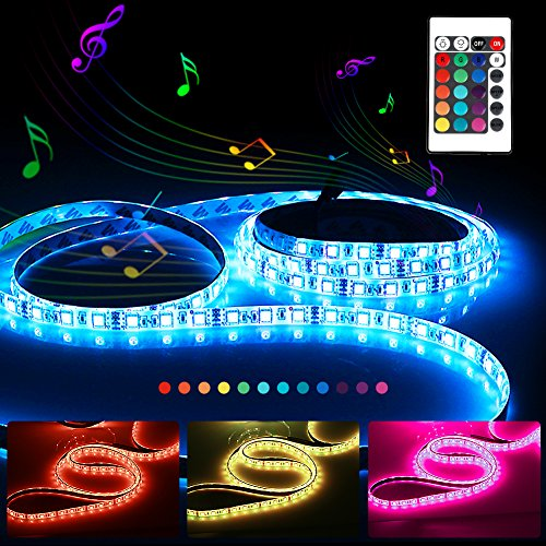 RGB LED Strip Lights Kit, 5M/16.4ft Waterproof LED Ribbon with Music Sensor Function, SMD 5050 300 LEDs, IR Remote Controller and 12V 5A Power Adaptor Included