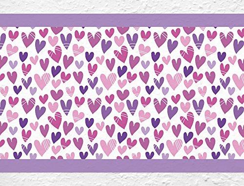 I-love-Wandtattoo b-10142 Kinderzimmer Bordüre 'Herzen in Violett' Mädchenzimmer Wanddeko Wandaufkleber Wandsticker Wandtattoo