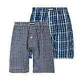 L&K 2er Pack Herren Schlafanzughose Pyjamahose Kurz Baumwolle Kariert Shorty 1411 mit Knopf L