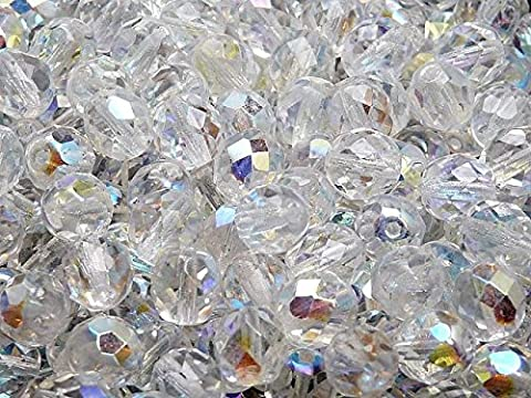 25 pcs Tchèque facettes perles de verre, Fire-Polished ronde 8 mm, Crystal AB