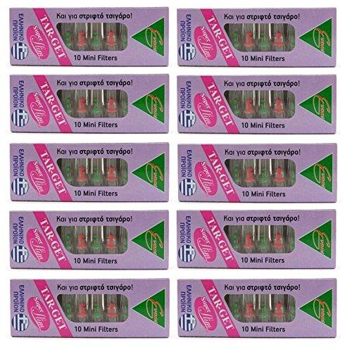 10-Packs x Mini-Filter SUPER SLIM für schlanke Zigaretten & Roll Ups Einweg, wiederverwendbar für das Rauchen Tar-Get - 10 x 10-Packs Total 100 Mini Filter -