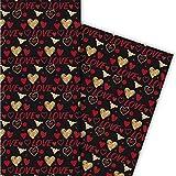 Romantisches Liebes Geschenkpapier für tolle Geschenk Verpackungen mit Herzen auch zum Valentinstag, schwarz rot (4 Bögen, 32 x 47,5 cm)