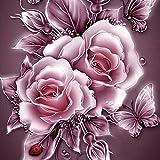 QIYUN.Z Vintage Rose Blume 5D Diamant-Besetzte DIY Handwerk Malerei Partielle Bohrer Stickerei Kreuzstich Kunst Handwerk Haus Wanddekoration 9.84 * 9.84 inch