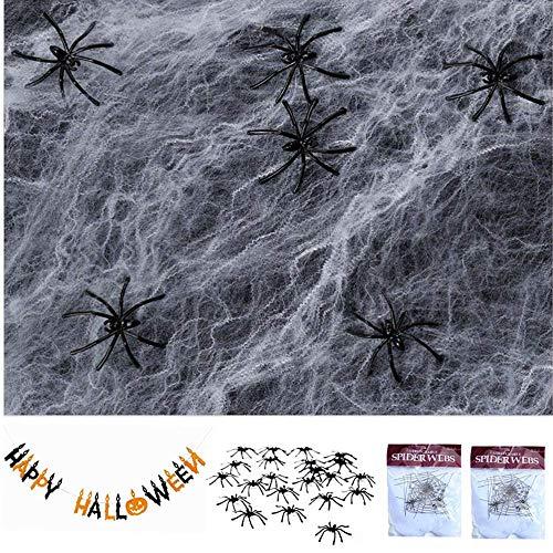 Caiery 2 pcs Spinnennetz Weiß Halloween Deko mit 30pc Spinne &1pcs Happy Halloween Banner, Drehbare Spinnen Netz für Party Dekoration