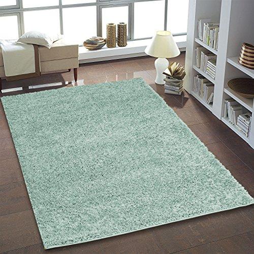 flor Teppich Flokati Pastell für das Wohnzimmer, Schlafzimmer und das Kinderzimmer geeignet in den aktuellen Wohnfarben Mint, Aqua, Taupe und Rose Öko Tex 100 zertifiziert (Mint / Hell-Grün, 240 x 340 cm) (Mint Grün Rosen)