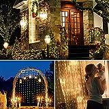 CiSiRUN LED Tenda con Catena di Luci,3 M x 3 M Striscia luminosa a 8 modalità con telecomando per decorazioni per la camera da letto del giardino di Halloween di Natale per feste all'aperto
