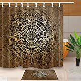 gohebe Native American Decor ethnischen indischen Stil mit Azteken Kalender in Vintage Stone 180,3x 180,3cm Schimmelresistent Stoff Vorhang für die Dusche Anzug mit 39,9x 59,9cm Flanell rutschfeste Boden Fußmatte Bad Teppiche