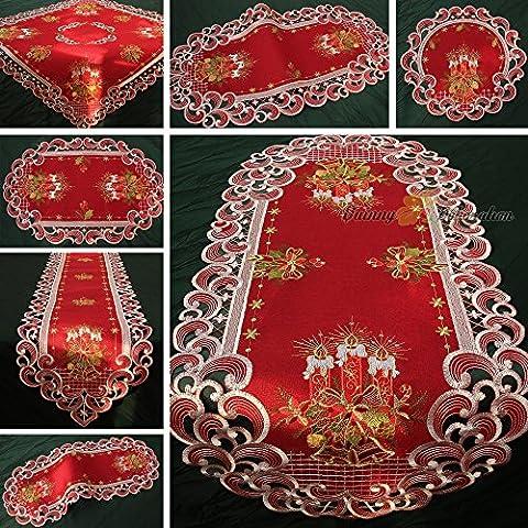 Quinnyshop Noël Bougie Clochette Chemin de table 30 x 45 cm Ovale Polyester, Rouge