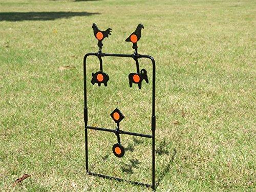 Cible pour pistolet à air comprimé ou carabine à plombs -avec 4cibles équilibrées qui se réinitialisent automatiquement-WingsLa cible se plante dans le sol.