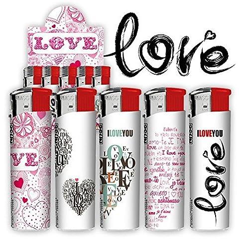 Lot de 12 - Briquet électronique rechargeable `Love` modèles assortis - Qualité COOLMINIPRIX®