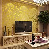 HANMERO Wandwelt Mustertapete Umweltschutz Europa Bersilbern Sofa Fernseher Hintergrund Nahtlos 3D Style Geprägt Relief Vliestapete 0,7 * 8,4m 4 Farben für Wohnzimmer Livingroom (Gold-gelb)