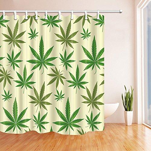 Grün Decor Vorhänge Dusche von gohebe exotischen Pflanzen Blätter Masse der Cannabis Vector Hintergrund grün creme Bad Vorhänge 180,3x 180,3cm (Grün Vorhang Creme-dusche Und)