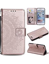 Leeook - Funda de piel sintética con tapa para iPhone 7 de 4,7 pulgadas, diseño de flor de tótem en relieve, estilo libro, ranuras magnéticas para tarjetas, correa de muñeca, color oro rosa y dorado, oro rosa
