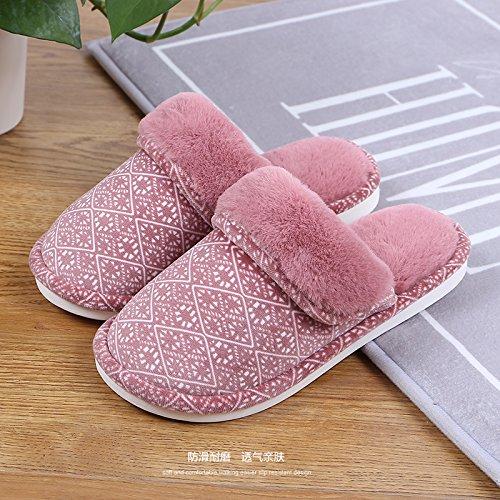 Fankou Indoor giovane home il cotone pantofole inverno femmina skid comode scarpe comode Lila + Braun