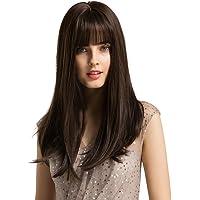 HAIRCUBE 20 Zoll Natur gerade tiefe braune Perücken für weiße Frauen weiches Haar synthetische Perücken mit stumpfen…