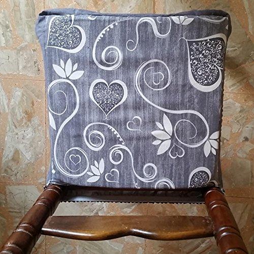 N.6 cuscini coprisedia quadrati universali sfoderabili con zip shabby chic cuori e fiori grigio