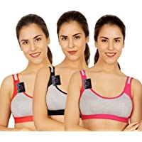 waooo Non Padded Cotton Gym Bra for Girls,Daily Workout Sports Bra for Girls, Women's Combo (Pack of 3)