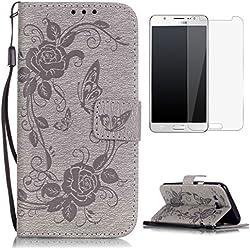 CaseHome Compatible For Samsung Galaxy J5 2015/J500FN Wallet Funda,Carcasa PU Leather Cuero Cierre Magnético Billetera con Tapa Libro Tarjetas para Estilo del Libro Estuche del Protector-Gris