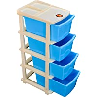 Bathla Stomo 4 - Extra Large Multi-Purpose Modular Drawer Storage System for Home & Office with Trolley Wheels & Anti-Slip Shoes (Blue)