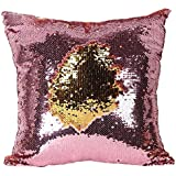 LilyPin Stylish Sequin Mermaid Throw Pillow Cover With Magical Color Changing Reversible Paulette Design Decor Cushion Pillowcase Set Of 1(12X12 Inch ) - Golden & Pink
