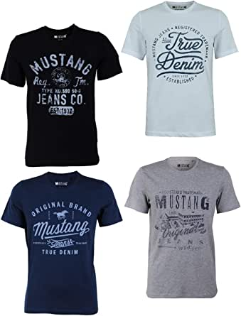 Mustang, confezione da 4 magliette da uomo con stampa frontale e scollo rotondo, colori assortiti blu e nero