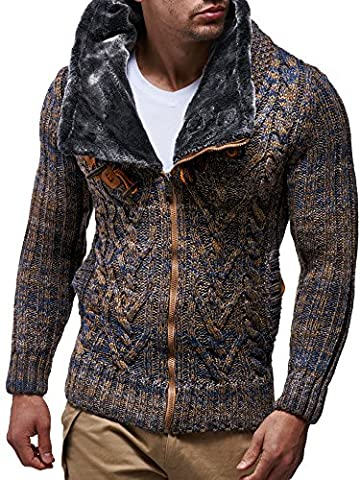 LEIF NELSON Men's Knitted Jacket Cardigan 20523; Size L,