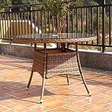 Charles Bentley Verona Medium 4 Seater Rattan Dining Table Indoor Outdoor Patio Conservatory Garden Furniture - Brown