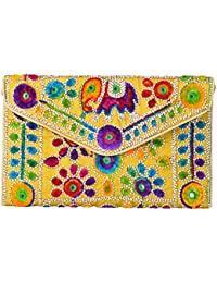 Stylish Designer Women Kutch Style Mirror Embroidered Embellished Blue Clutch Sling Bag Handbag Purse by SHOP FRENZY