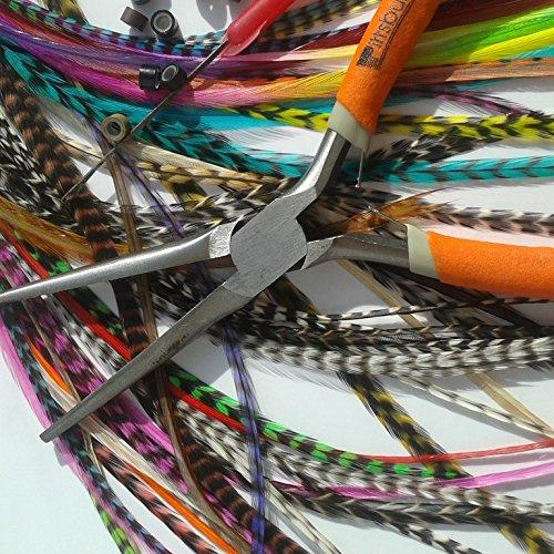 Kit complet pose 20 Extensions plumes naturelles Mix XXL 25-32 cm 100% naturel pour cheveux + anneaux fixation offerts+ outils