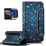 Galaxy S6 Hülle,ikasus Bunte Gemalt Malerei Muster PU Lederhülle Schutzhülle Handyhülle Taschen Schalen Handy Tasche Flip Wallet Ständer Etui Schutzhülle für Galaxy S6,Blaue Galaxie