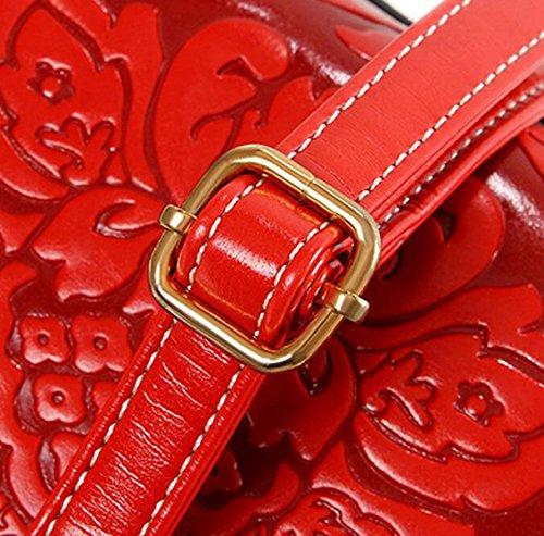 Chinesische Winddruck-Blumenbeutel-Schulterbeutel-schräge Querpaket-wilde Art Und Weisefreizeit Red