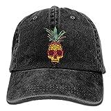 Aoliaoyudonggha Unisex Adult Pineapple Skull Washed Denim Cotton Sport Outdoor Baseball Hat Adjustable One Size