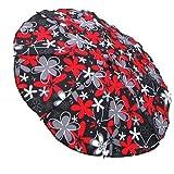 Sonnenschirm Schirm für Kinderwagen Ø68cm Schwarz + Rote Flowers #20