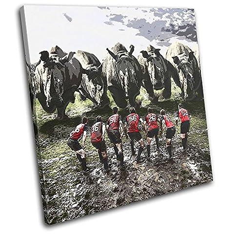 Bold Bloc Design - Rugby League Funny Rhino Union Sports 60x60cm SINGLE Boite de tirage d'Art toile encadree photo Wall Hanging - a la main dans le UK - encadre et pret a accrocher - Canvas Art Print